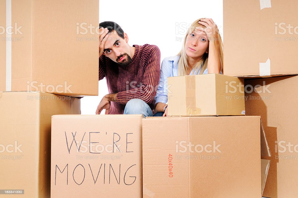Stressed Young Couple Relocation royalty-free stock photo