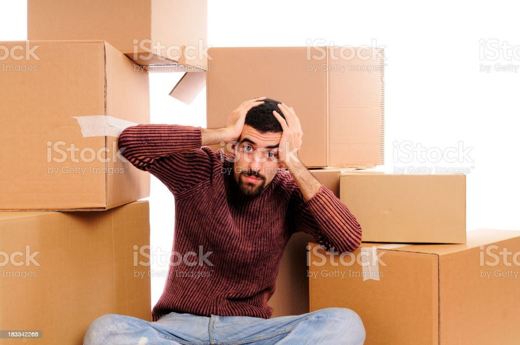 Stressed Young Man Relocation royalty-free stock photo