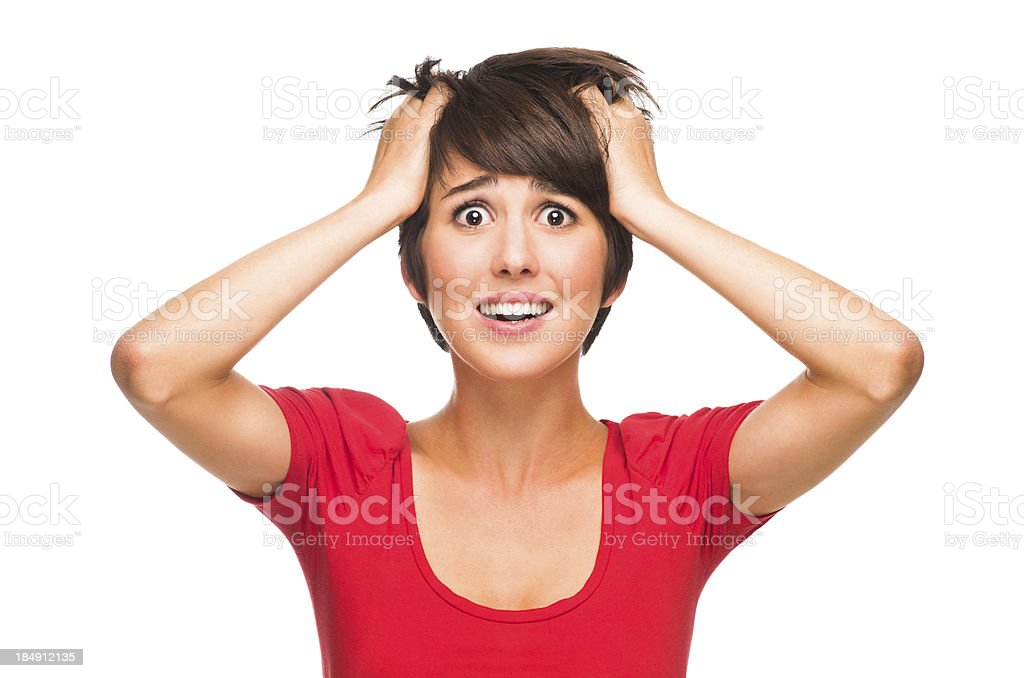 Stressed young woman royalty-free stock photo