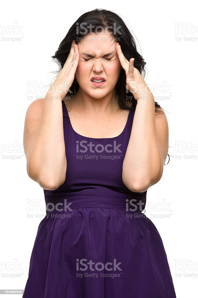 Stressed Young Woman Rubs Temples royalty-free stock photo