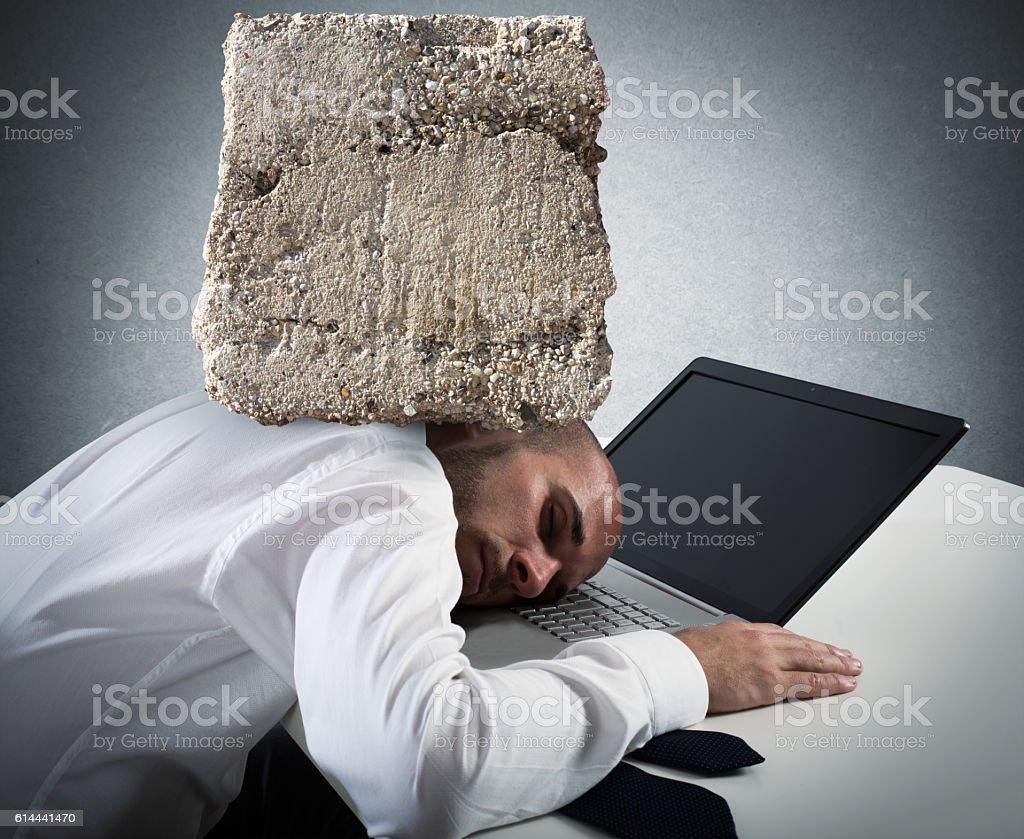 Stressful businessman at work stock photo
