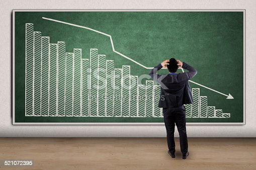 istock Stressful businessman looking at a declining graph 521072395