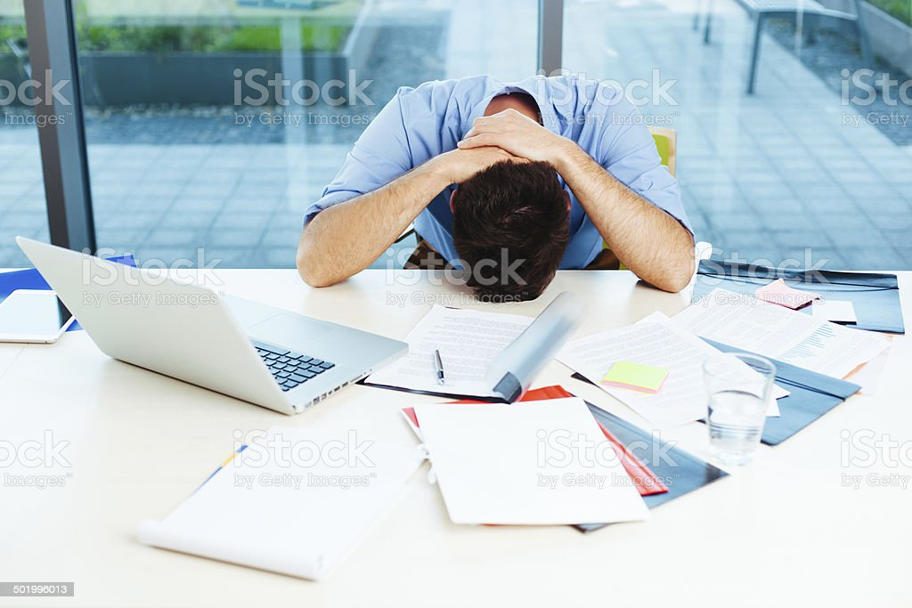 Stressful businessman stock photo