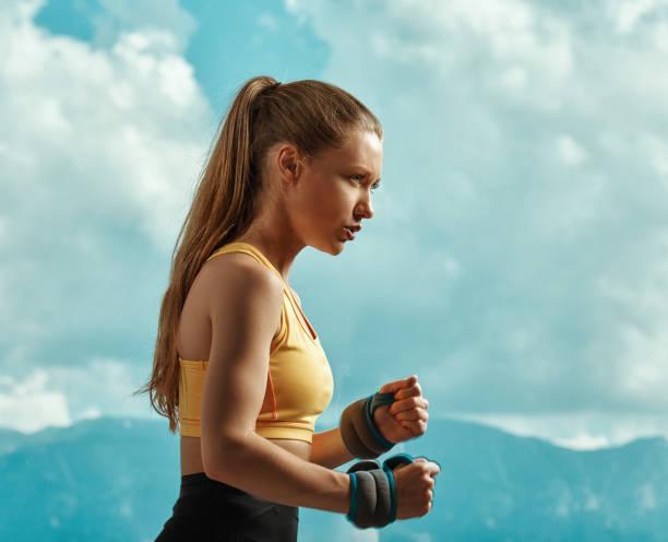 Stretch cord exercises stock photo
