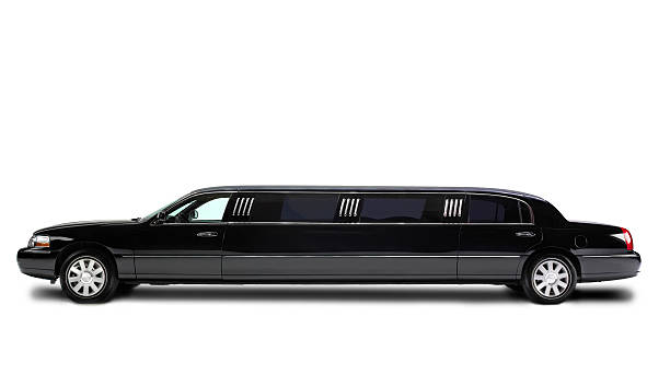 stretch limousine isolated on white - limousine service stock photos and pictures