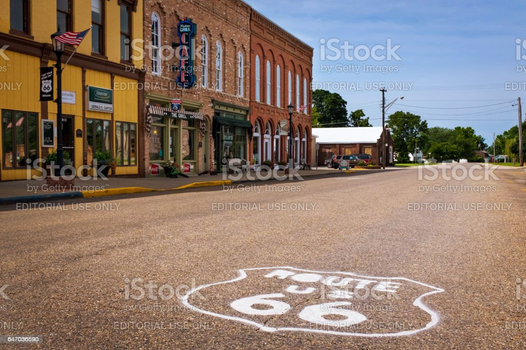 Stretch of the US Route 66 in the city of Atlanta, Illinois, USA stock photo