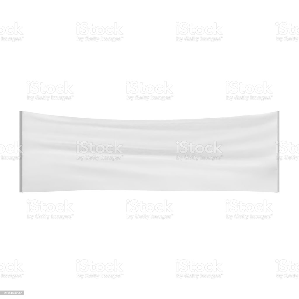 Stretched, tensioned white blank cloth banner isolated on white stock photo