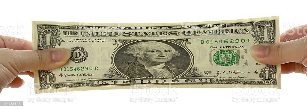 Stretched US dollar note royalty-free stock photo