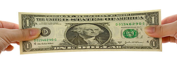 Stretched US dollar note stock photo