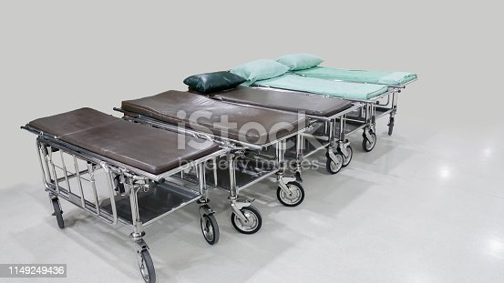 istock Stretcher Troller or Patient bed in the hospital waiting for patient services. 1149249436