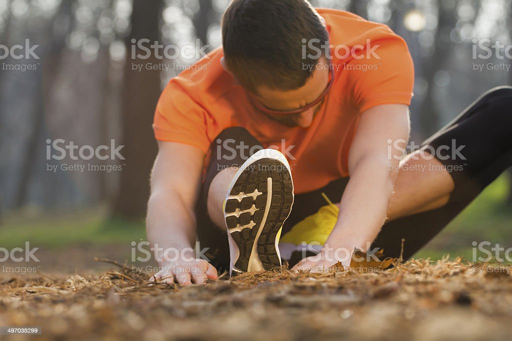 Stretching after Jogging royalty-free stock photo