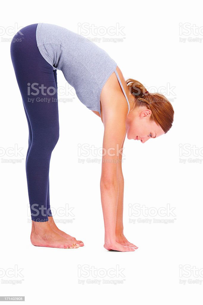 Stretching all her back muscles stock photo