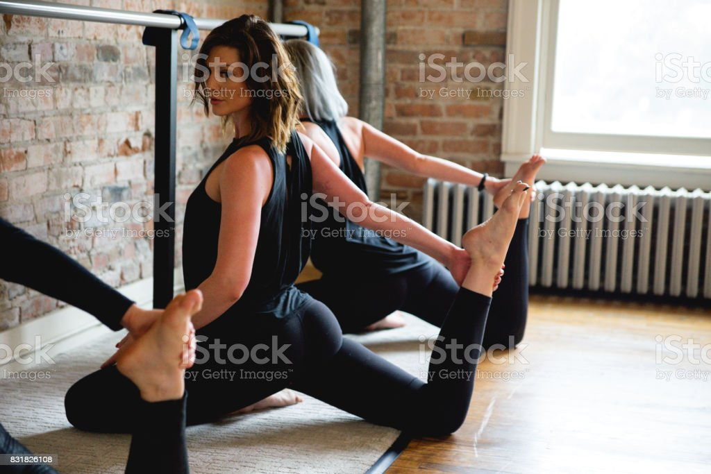 Stretching Barre Workout stock photo