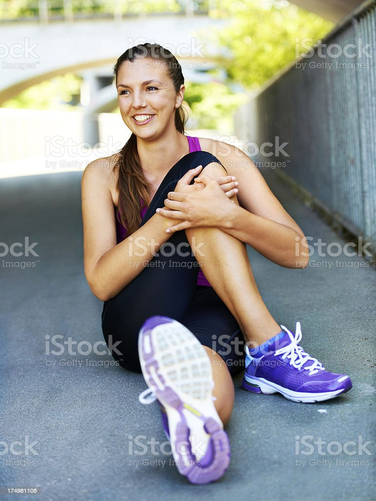 Stretching before training royalty-free stock photo