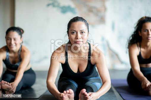 A diverse group of adults are sitting on exercise mats and doing a stretching exercise.