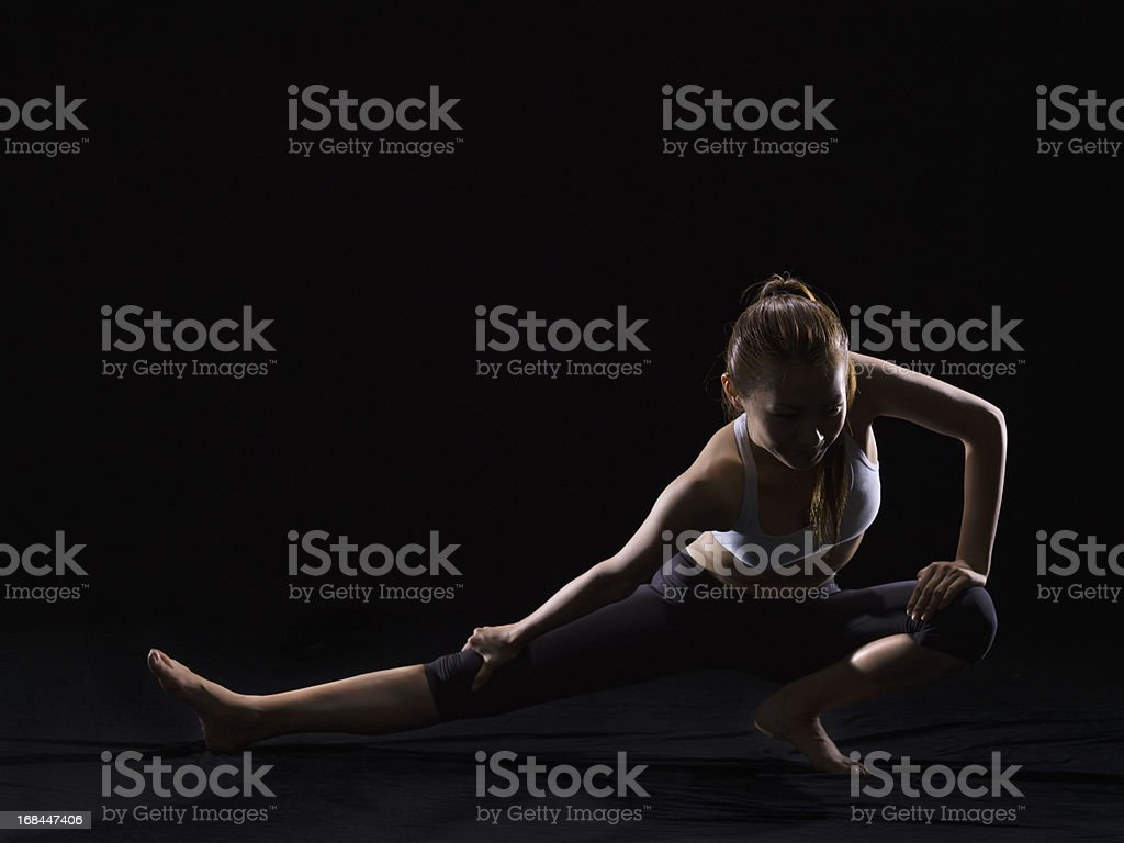 Stretching exercise royalty-free stock photo