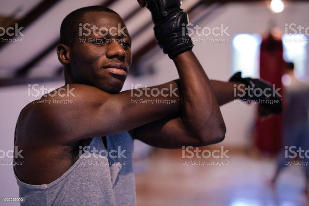 Stretching Exercises On Boxing Training stock photo