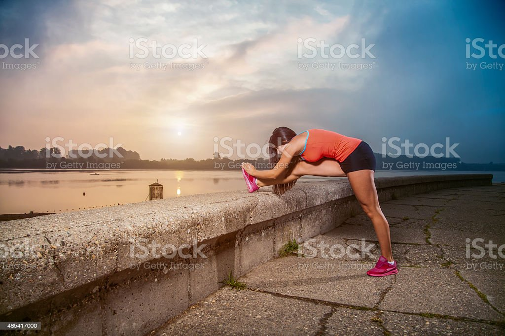Stretching For Warm Up Or Cool Down stock photo