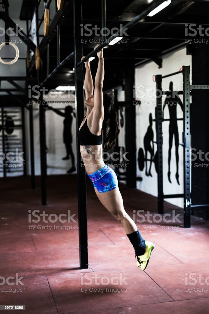 Stretching in gym stock photo