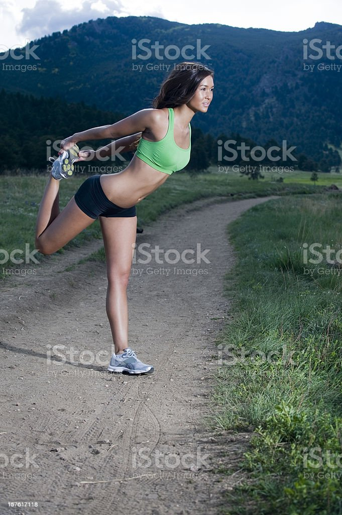 Stretching In Nature stock photo