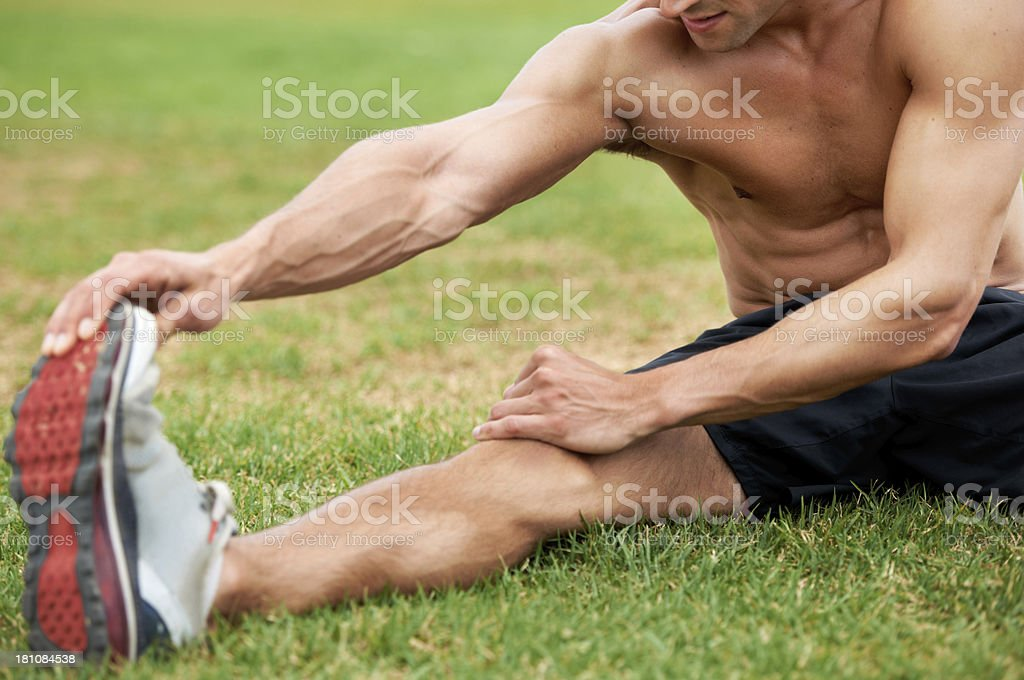 Stretching is an important part of any workout royalty-free stock photo