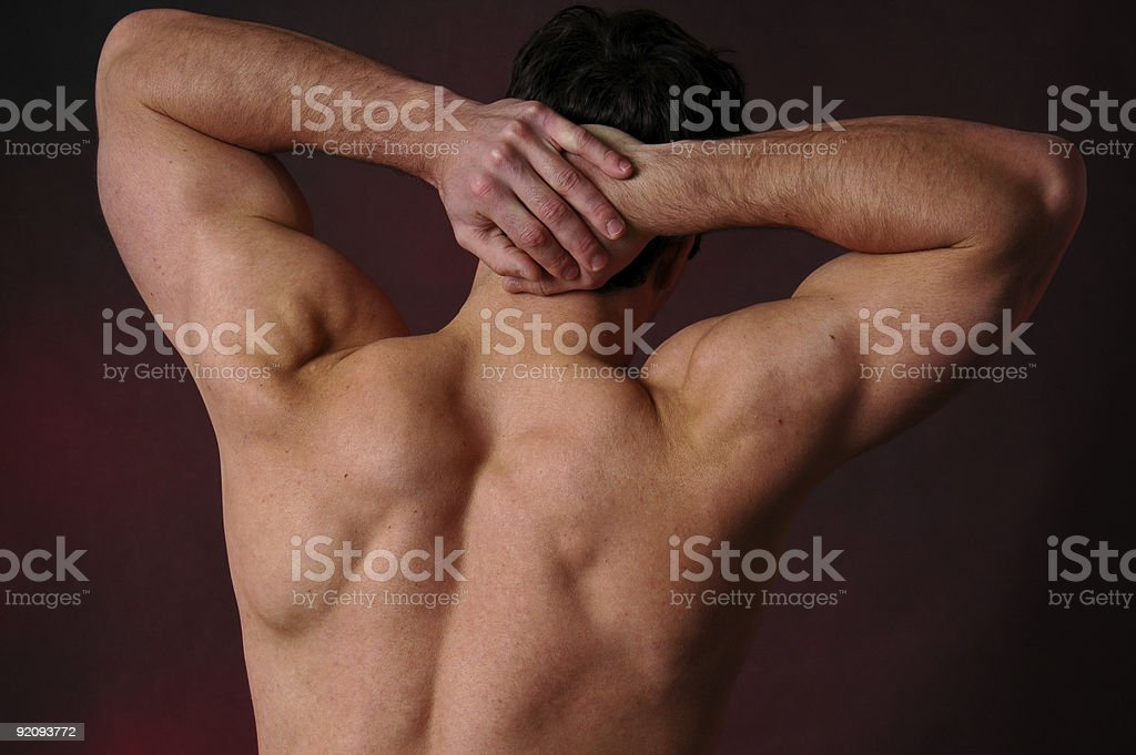 stretching man stock photo