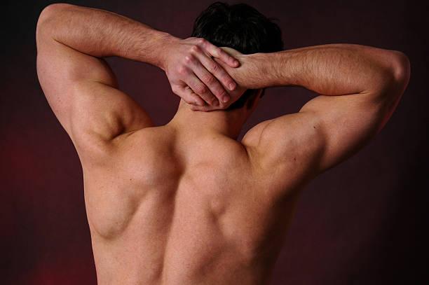 stretching man stock photo