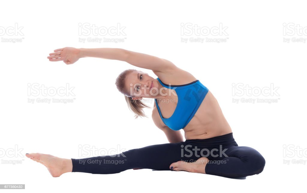 Stretching of big dorsal and intercostal muscles stock photo