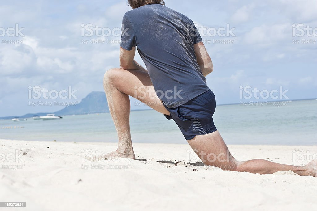 Stretching of hip stock photo