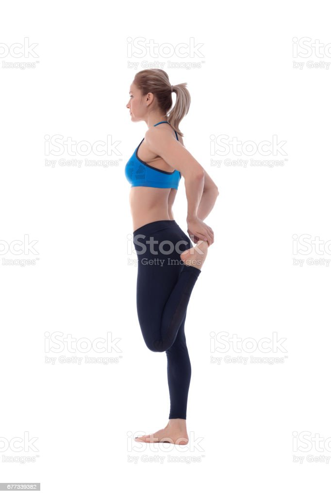 Stretching of quadriceps stock photo
