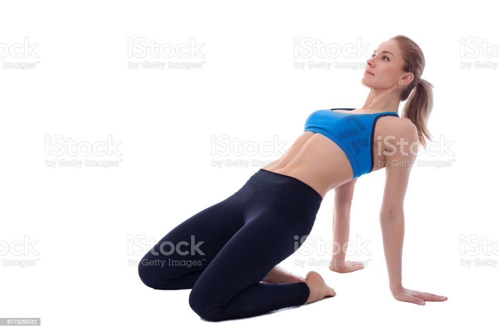 Stretching of quadriceps stock photo