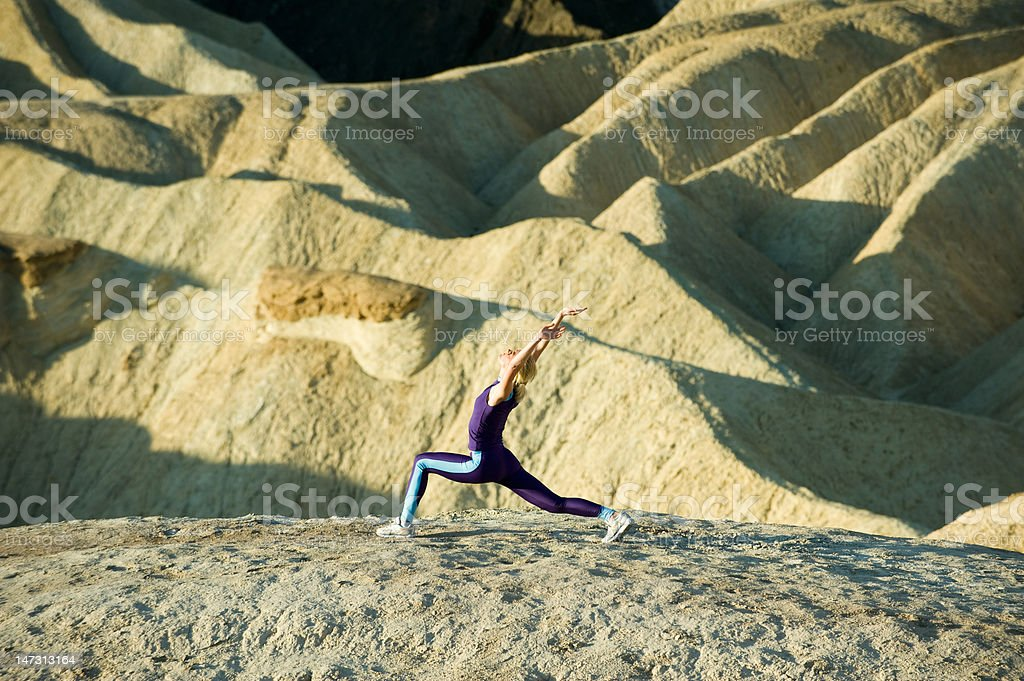 Stretching on Mountain royalty-free stock photo