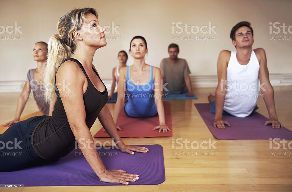 Stretching out those back muscles royalty-free stock photo