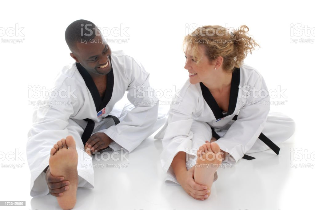 Stretching together stock photo