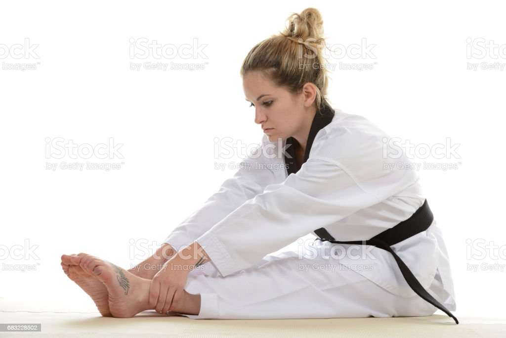 Stretching with focus royalty-free stock photo