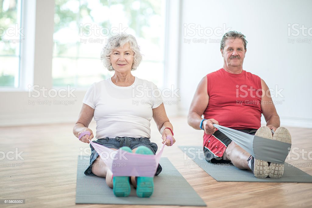 Stretching with Resistance Bands stock photo