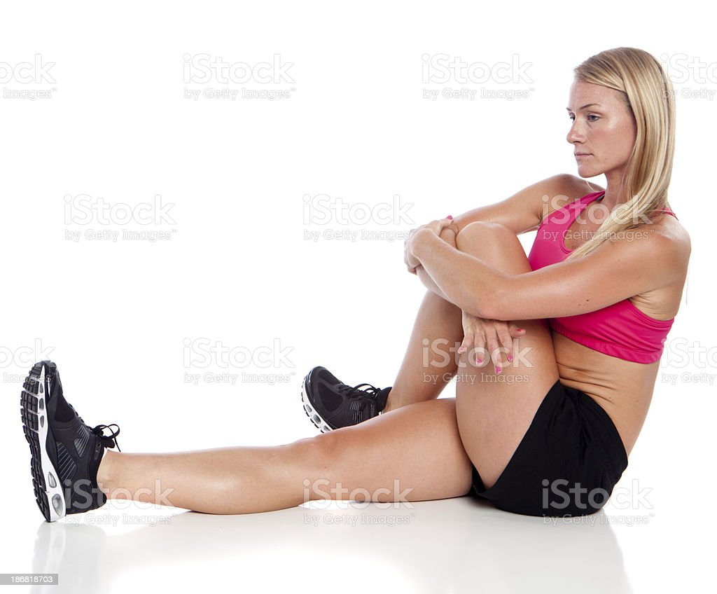 stretching woman royalty-free stock photo