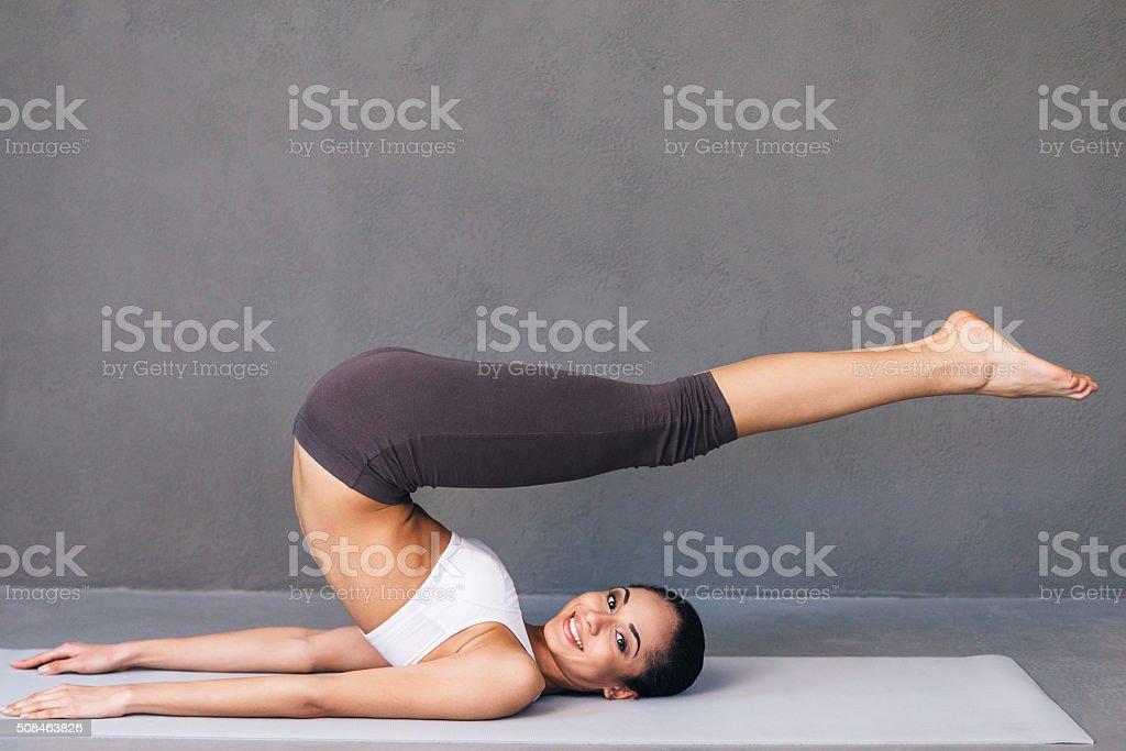 Stretchy beauty. stock photo