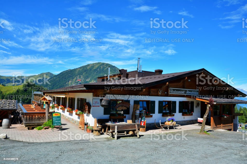 Streuboden Restaurant , Fieberbrunn, Austria stock photo