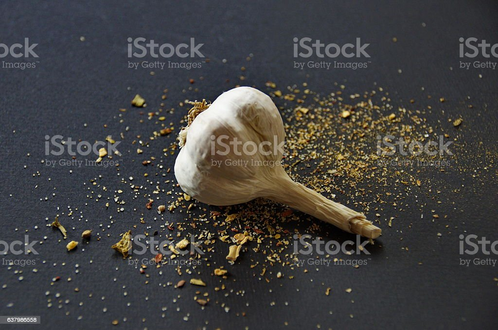 strewn spices and garlic stock photo