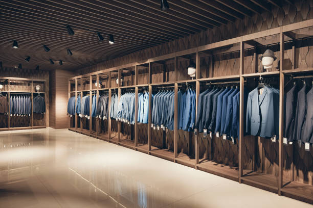 strikte premium pakken - kledingwinkel stockfoto's en -beelden