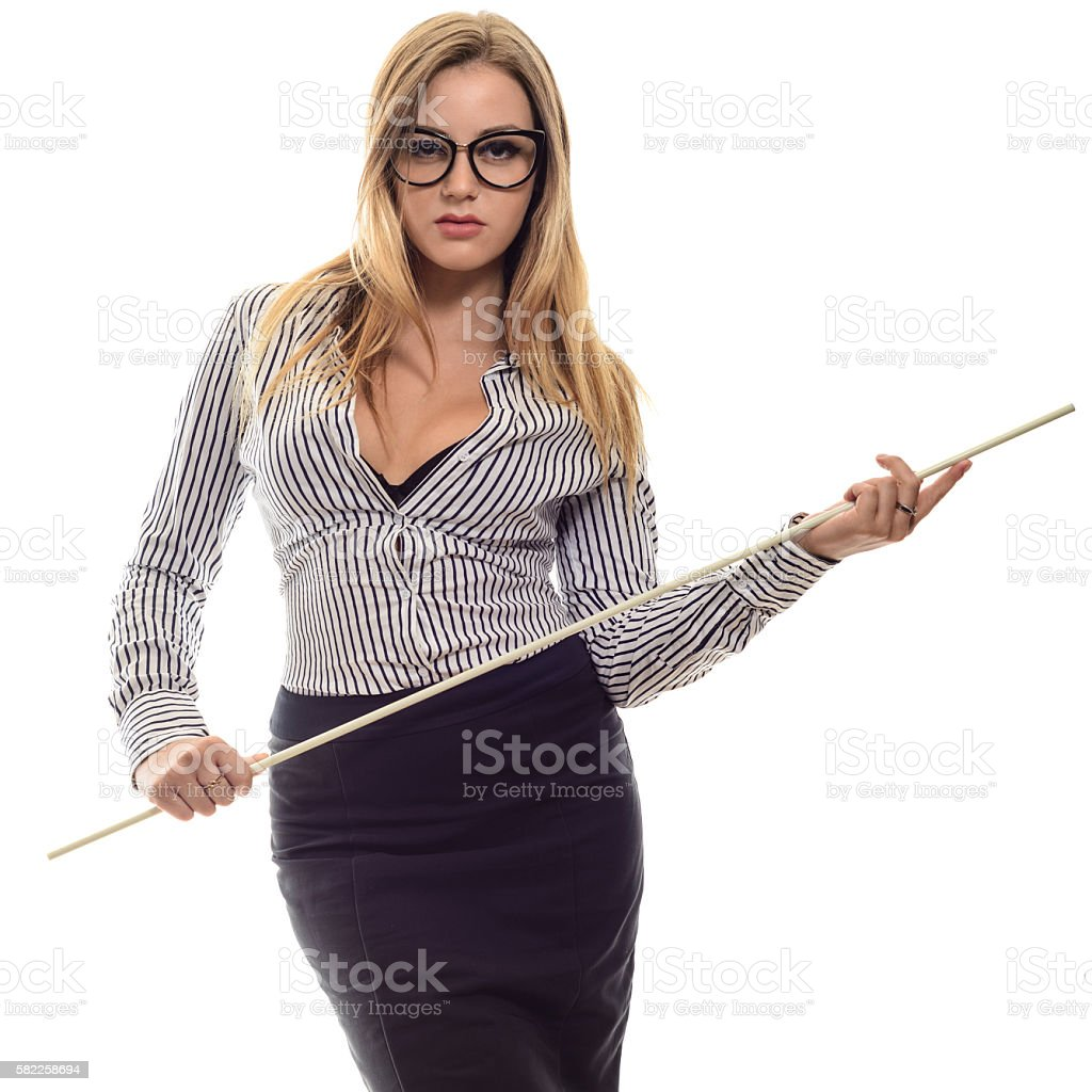 Strict teacher with a pointer in his hand stock photo