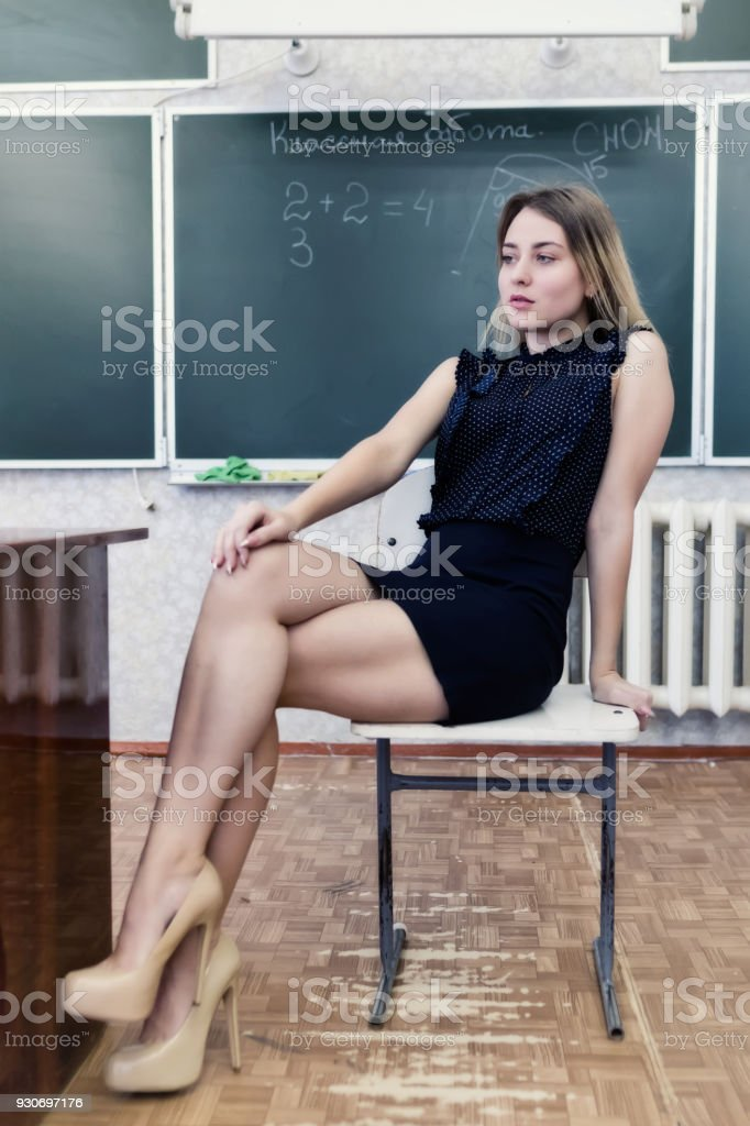Sexy blonde teacher