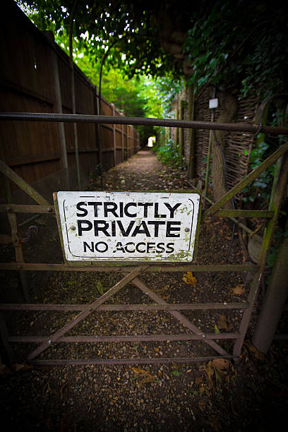 Strictly Private, no access sign stock photo