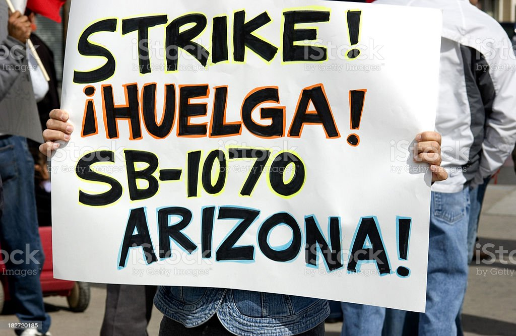 Strike Against Arizona Protest sign royalty-free stock photo