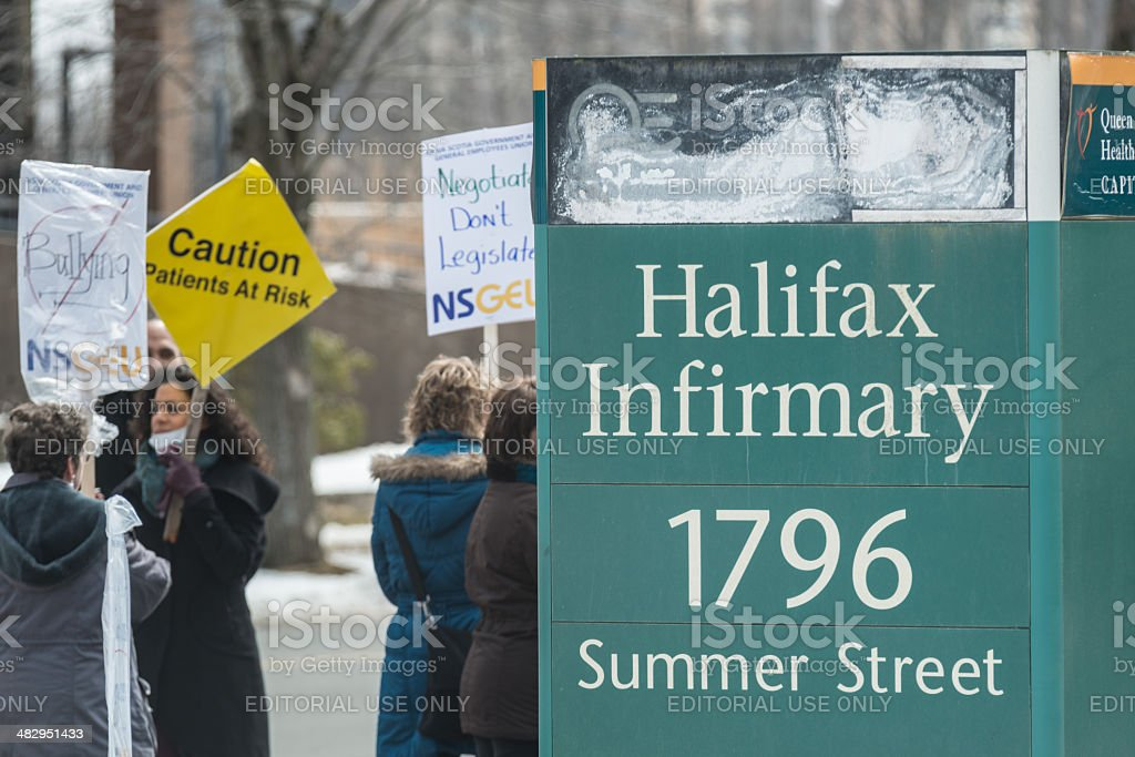 NSGEU Strike at Halifax Infirmary royalty-free stock photo