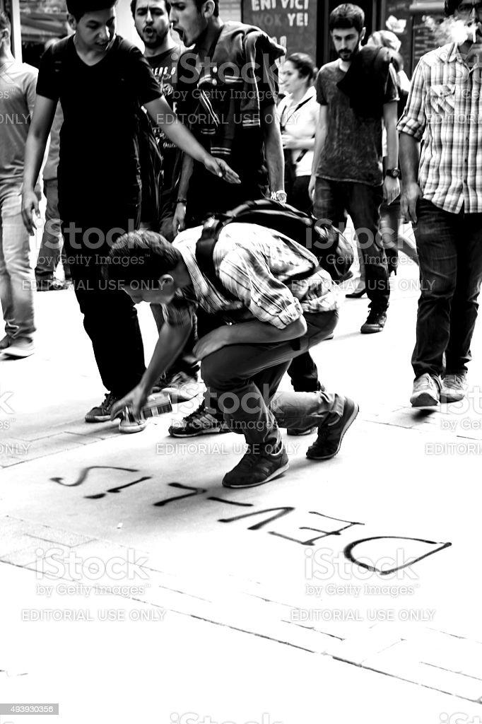 Strike For Ankara Peace Rally Bomb Explosions stock photo
