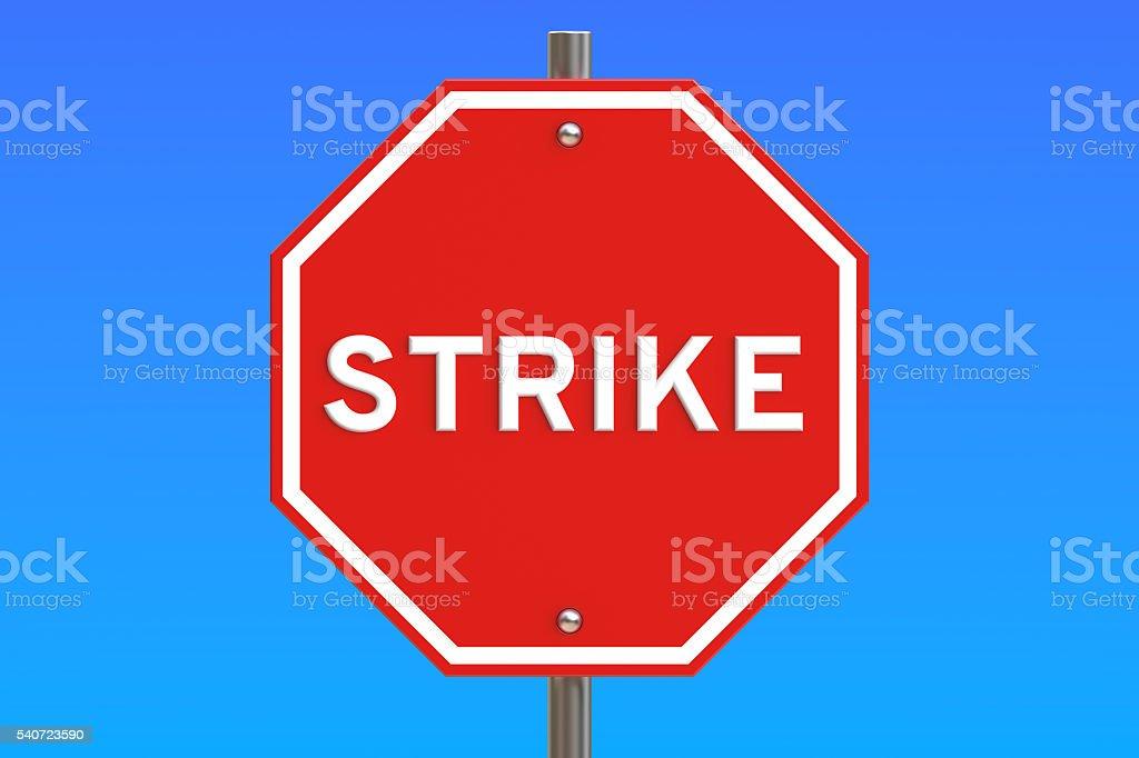 strike road sign, 3D rendering stock photo