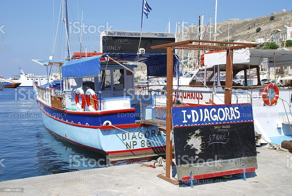 Striking excursion boat, Symi royalty-free stock photo
