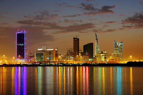 Striking illumination & reflection of Bahrain higrise, HDR photograph stock photo